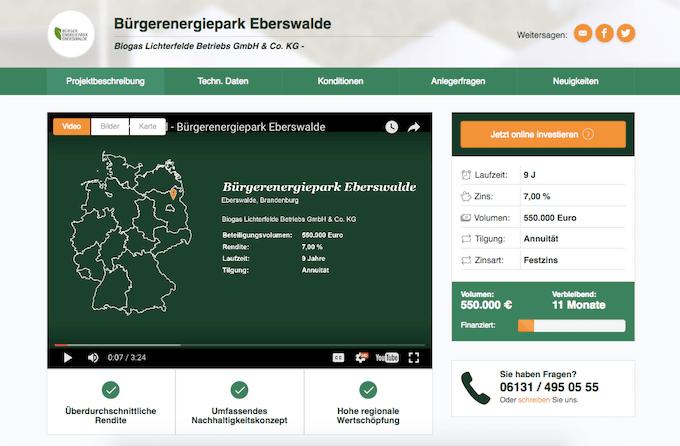 LeihDeinerUmweltGeld-Projekt Bürgerenergiepark Eberswalde (Stand:Mai 2016)