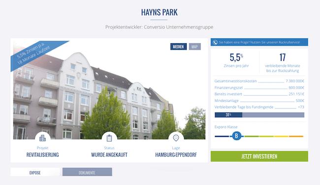Exporo-Projekt Hayns Park in Berlin (Stand: Juni 2016)