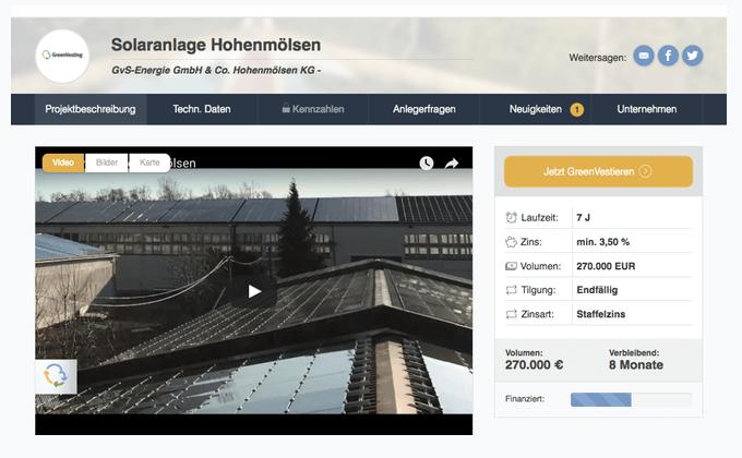 GreenVesting-Projekt Solaranlage Hohenmölsen (Stand:August 2016)