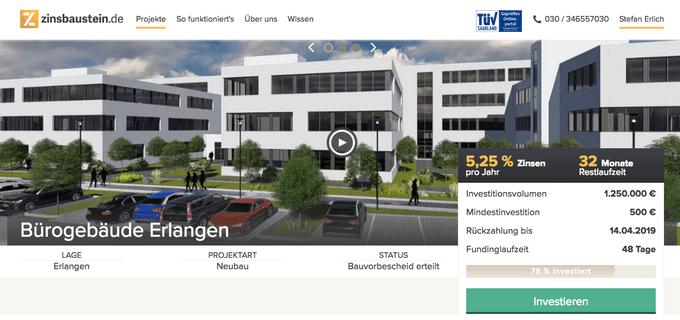 Zinsbaustein-Projekt Bürogebäude Erlangen (Stand:August 2016)