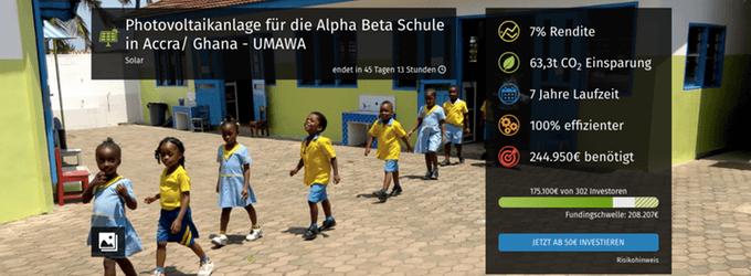 Photovoltaikanlage für die Alpha Beta Schule in Accra, Ghana (bettervest)