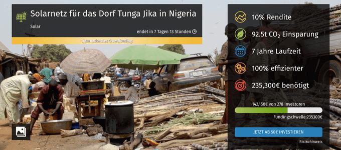 Solarnetz für das Dorf Tunga Jika in Nigeria (bettervest)