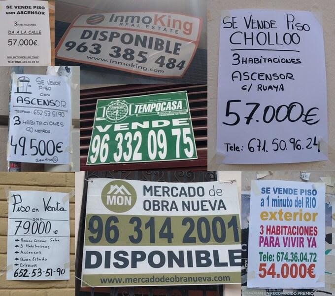 Immobilienanzeigen in den Straßen von Valencia