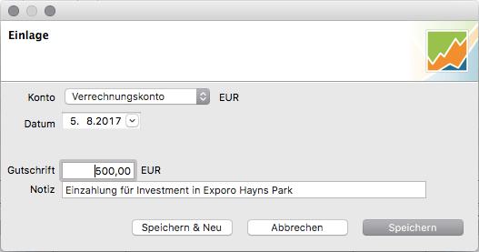 Einzahlung auf das Crowdinvesting-Verrechnungskonto