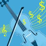 Die Geldanlage mit Violinen und anderen Streichinstrumenten