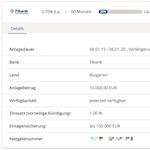 Details zu einer bestehenden Festgeldanlage im WeltSparen Onlinebanking